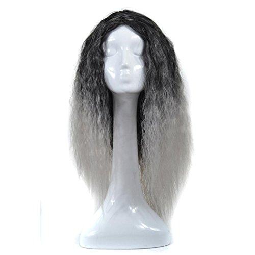 DEESEE(TM) Women Lady Mixed Long Corn Wavy Curly Wig Gradient Hair - Gradient Grey