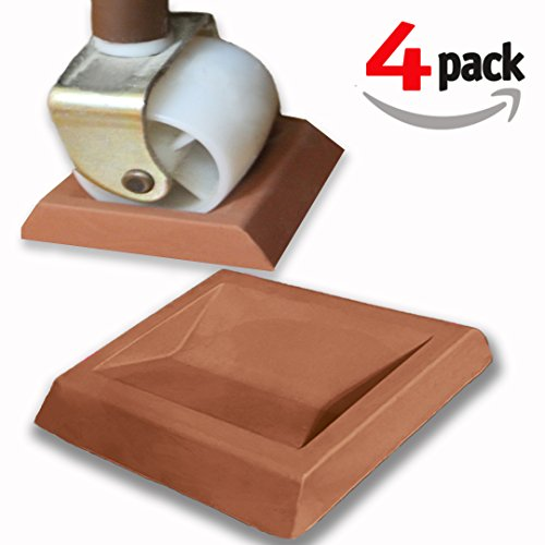 Newest Bed Stopper & Furniture Stopper. Caster Cups, Fits All Wheels Furniture, Floor Protector Bed. Keeps Bed From Sliding, Bed Caster Stopper. Solid Rubber. Never Scratches or Leaves Marks (Wood Frame Sofa With Cushions)