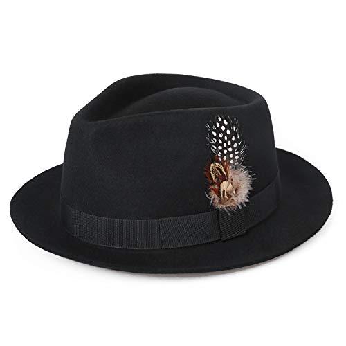 Deevoov 100% Wool Felt Men s Fedora Outback Trilby Hat Snap Brim Cap with  Hat Band fc5e6f7fa4c0