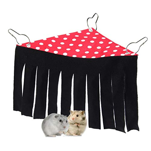 TEEPAO Guinea Pig Hideaway, Tassels Hanging Nest Hammock Hideout House Fleece Curtain Small Animal Corner Tent for Chinchillas/Hedgehogs/Hamster/Dwarf Rabbits/Ferrets, Hide and Play Tent