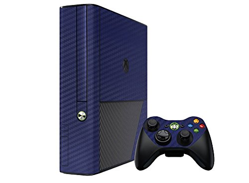 Microsoft Xbox Faceplates Carbon (Microsoft Xbox 360E Skin (3rd Gen) - NEW - 3D CARBON FIBER NAVY BLUE - Air Release vinyl decal faceplate mod kit by System Skins)