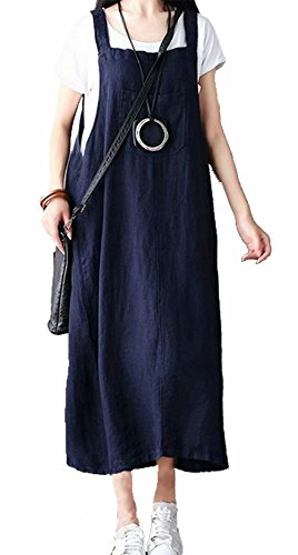 MNLYBABY Women Bib Overalls Sleeveless Dungarees Strappy Dress Casual Loose Baggy Sundress Size L (Navy Blue)