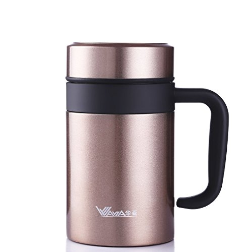 14 Ounce Thermal Mug - JIAQI Insulated Coffee Mug with Handle and Lid, Double Wall Stainless Steel Tumbler Vacuum Thermal Cup with Removable Tea Infuser Great Gift Idea for Men, 420ML/14Ounce, Gold
