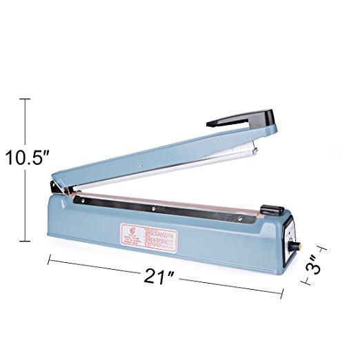 Metronic 16inch/400mm Manual Impulse Manual Hand Sealer Heat Sealing Machine Poly Tubing Plastic Bag with 2 Replacement Kit Blue by Metronic (Image #5)