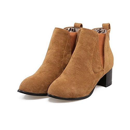 Solid On Zehe Pull Frosted Kätzchen Heels Damen Stiefel Braun Runde geschlossene Allhqfashion Sw0A0a