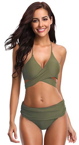 SHEKINI Women's Push-up Halter Bandage Ruched High Waisted Bottoms Bikini Swimsuits (Medium, Olive Green)