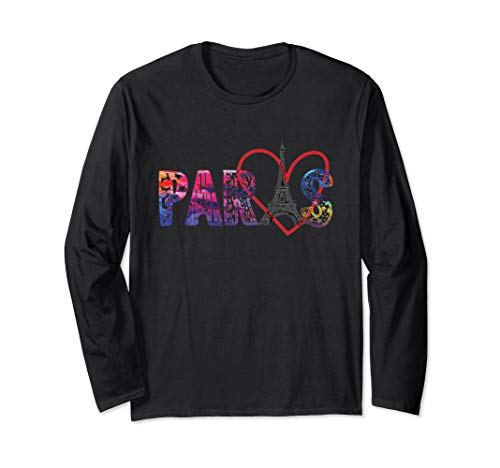 Paris Eiffel tower with outline heart long sleeve shirt gift -
