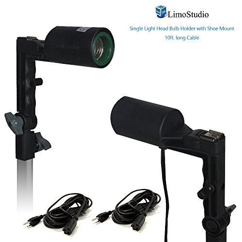 LimoStudio [2 Pack] Single Head Photo Bulb Socket with Flash Bracket E26 Standard Base Size, Flash Lock Button, Umbrella Reflector Insert with 10 Foot. Extension Cord, Photo Studio, AGG2055 by LimoStudio