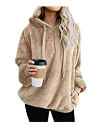Rojeam Women Casual Oversized Sweatshirt with Pockets Loose Fleece Pullover Hoodie