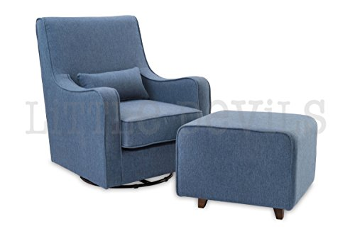 The NEW Hush Hush 360 Swivel Glider/Rocking Nursing Chair (in Blue) – The Modern Glider that combines simple lines with exceptional comfort
