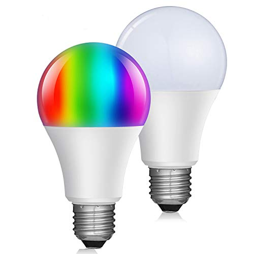 Smart WiFi Led Light Bulb with Dimmable Warm White RGBW(2700k) Multicolored Color Changing A21 E26 smart light bulb works with Amazon Echo Alexa and Google Home (2-Pack) Smart Light Bulb For Sale