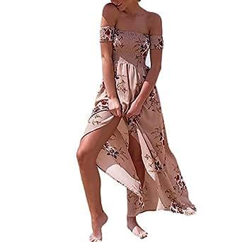 Women's Off Shoulder Floral Print Maxi Summer Beach Dresses size XXXL (KHAKI)