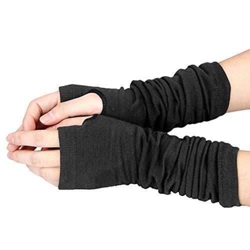 r Warmer Knitted Long Fingerless Wrist Warmers Gloves (Black) (Wrist Gloves)
