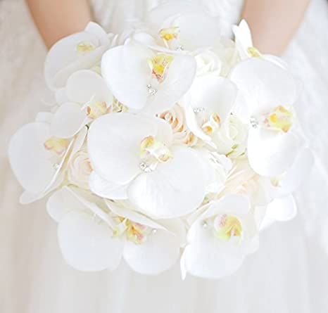 Bouquet Sposa Orchidee.Iffo High End Custom Simulation Flower Korean Bride Moth Orchid