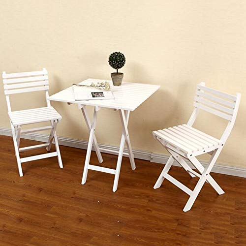 - 3 Piece Set Leisure Furniture Folding Table Chairs Wooden Dining Set Outdoor Indoor Garden Patio Conservatory CJC (Color : White)