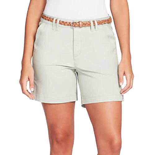 Gloria Vanderbilt Womens Violet Shorts (Desert Sage with Belt, 14) (Gloria Vanderbilt Sport)