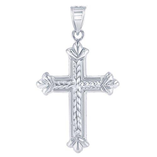 Textured 14k White Gold Fleur de Lis Cross Charm Pendant ()
