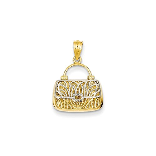 ICE CARATS 14kt Yellow Gold Reversible Mom Handbag Pendant Charm Necklace Special Person Fine Jewelry Ideal Gifts For Women Gift Set From Heart (14kt Gold Reversible Pendant)