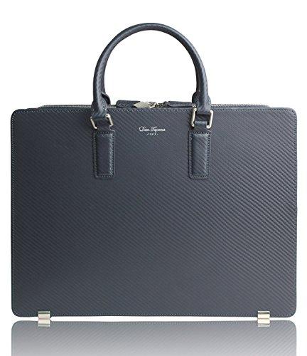 Dom Teporna Italy ビジネスバッグ カーボンレザー カバン A4書類 13インチPC 本革 ブリーフケース ネイビー