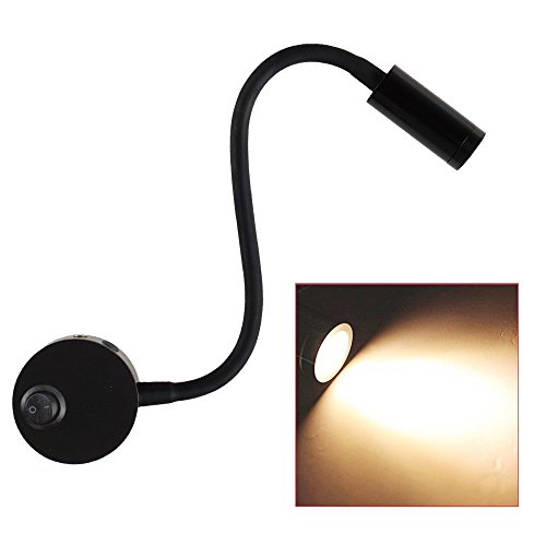 LED Wall Lamp, Lanfu Flexible Wall Mounted Sconce Lighting, Wall Bracket Night Reading Light with Switch and Plug in Cord for Bedroom Living Room or Kid Room, Black