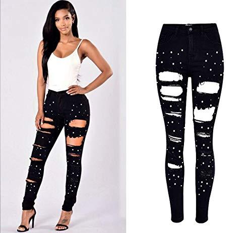 Primavera Donna Pants Stretch Donn Jeans Alta 42 Vita Rlwfjxh Distrutti Denim Pencil 44 A Strappati Perla Nero Per 2019 Skinny Design UfzUgqpn