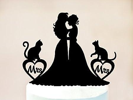 Decoración para tarta con diseño de gato lesbiano con gatos, decoración para tarta de boda lesbiana, decoración para tarta de la señora y la madre, silueta lesbiana, torta de gato: Amazon.es: Hogar