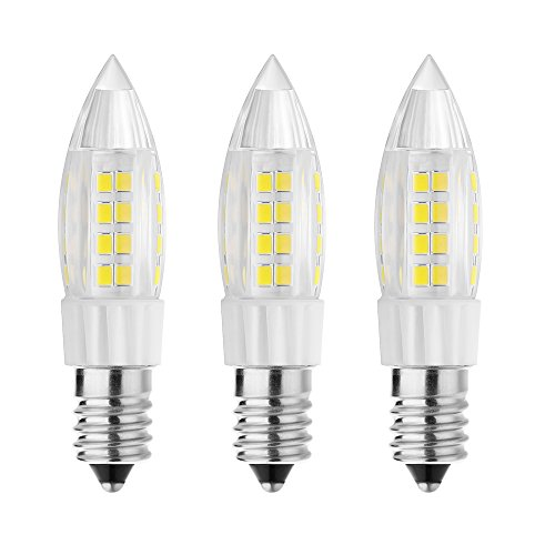 Rayhoo 3pcs E14 Base LED Bulb 5W Candelabra LED Light, 51-2835-SMD LED Chipsets, 40W Incandescent Bulb Equivalent, Not Dimmable, White 6000K, 400LM