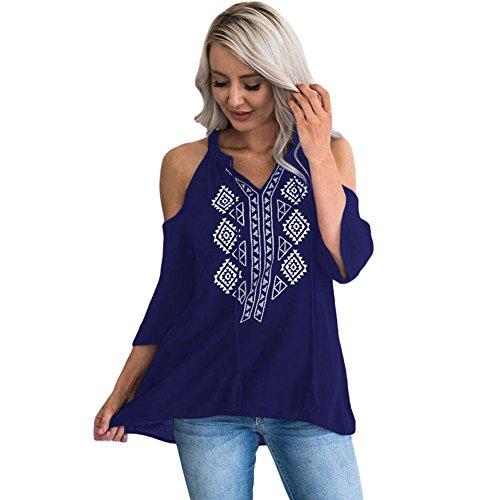 Casual Mujer Floja amp;x Tops Qin Cxq Cuello T Pullover Abierto Azul Sudadera Hombro camiseta shirt La V xpqTfn1w