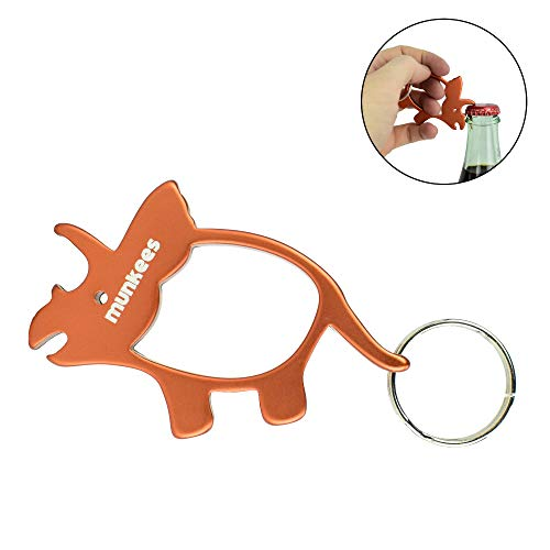 (AceCamp Munkees Triceratops Dinosaur Bottle Opener Keychain, Small Pocket-Sized Bottlecap & Wine Openers, Mini Paleontology 3-Horned Keyrings, Key Chain Opens Beer, Cans, Caps & More)
