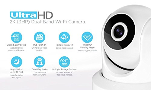 Amcrest UltraHD 2K WiFi Video Security IP Camera w Pan Tilt, Dual Band 5ghz 2.4ghz, Two-Way Audio, 3-Megapixel 20FPS, Wide 90 Viewing Angle Night Vision IP3M-941W White Renewed