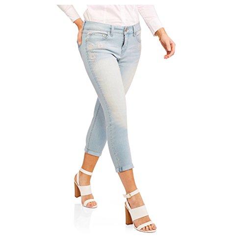 By Beau Dawson Women's 5-Pocket Embroidered Roll Cuff Capris, (Size 4 Regular, Blue Black - Beau Dawson Jeans