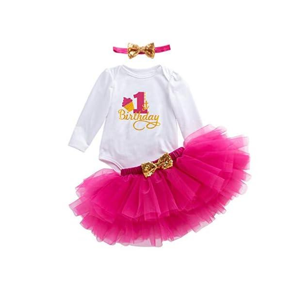 Gagacity Abiti Vestito Bambina 3 Pezzi Neonata Primo/Secondo Compleanno Abbigliamento Pagliaccetto+Gonna+Fascia 1