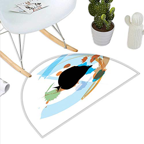 Fish Half Round Door mats Silhouette of a Discus Cichlid in a Partly Illustrated Bowl Cartoon in Pastel Colors Bathroom Mat H 35.4