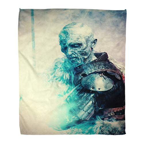 Semtomn Flannel Throw Blanket White Demon Halloween Frozen Snow Covered Zombie Warrior Soft for Bed Sofa and Couch 60x80 -