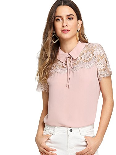 Floerns Women's Peter Pan Collar Lace Neck Short Sleeve Blouse Top Pink XS