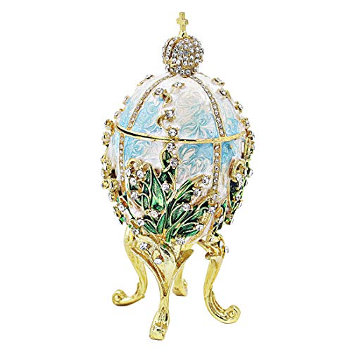Hophen Big Faberge Egg Trinket Box Hand-Painted Crystal for sale  Delivered anywhere in USA