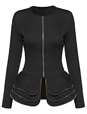 MBE Women's Fit and Flare Peplum Quilted Blazer Jacket with Ruffles