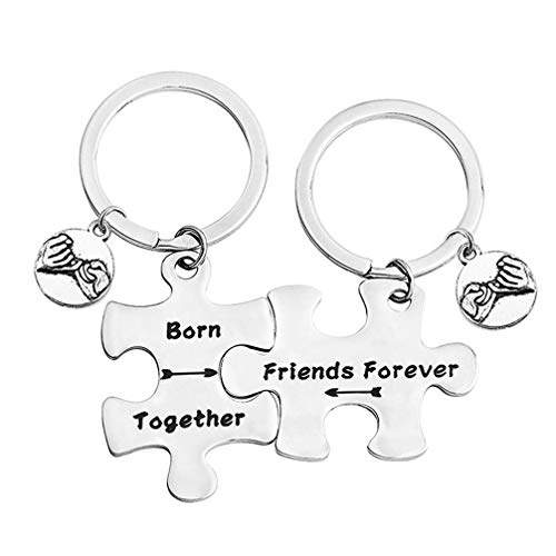 bobauna Born Together Friends Forever Puzzle Piece Keychain Set Gift for Twin Sisters Brothers BFF (Born Together Keychain - Twins Brothers