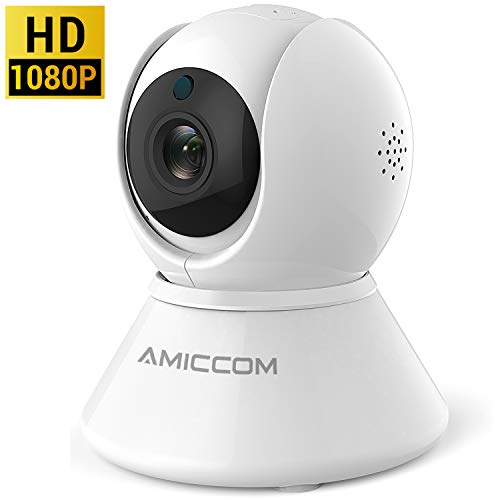 Security Camera, 1080P HD Security Camera System Wireless, Pet Camera, Night Vision, 2-Way Audio,2.4Ghz WIFI Smart Home Camera with MicroSD Slot, IOS, Android App for Home/Office/Baby/Nanny/Pet