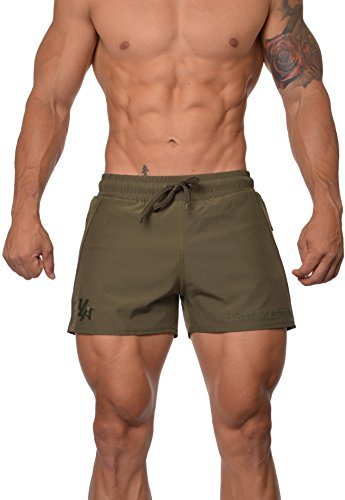 (YoungLA Men's Bodybuilding Lift Shorts W/Zipper Pockets 101 X-Large Olive)