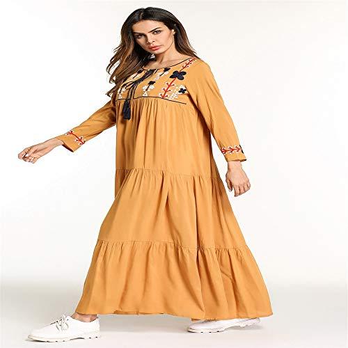 Femminile Ricamato Yhjklm Musulmano Abito Europeo Americano Xxl E Quadrato Etnico Elegante dimensione Medio Stile Con Confortevole Collo PAIwIOrqn