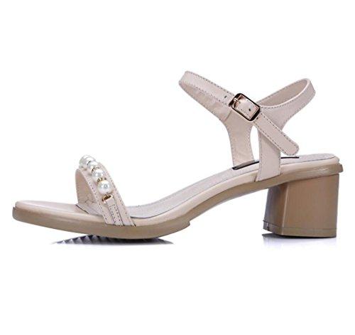 donna perle Sandali all'aperto estate Sandali scarpe blocco ZXMXY outdoor sandali fibbia Albicocca tallone con moda Xx5OR