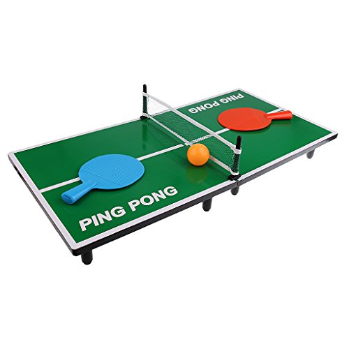 Tabletop ping-pong boardgame set for kids with blue and red paddles and orange ball on top isolated on white background.