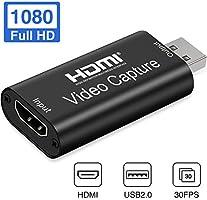 Aokeou HDMI Videoaufnahmekarte - 1080P 30fps Capture streamen, aufnehmen und Teilen - USB 2.0 Video Capture...