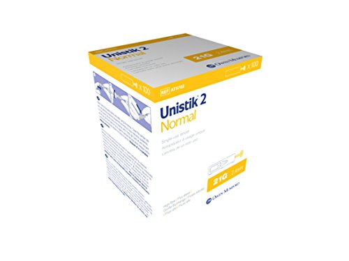 Unistik 2 Normal Safety Lancets, 21G X 2.4mm, 100 Count by Unistik 3