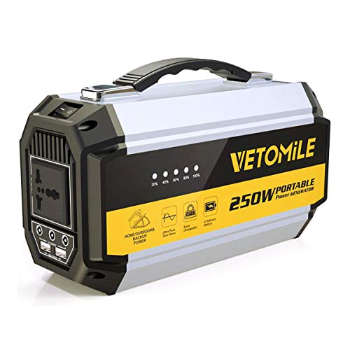 VETOMILE 250Wh Portable Power Station Camping Generator with Pure Sine Wave 110V AC Outlet, 2 USB Ports, 3 DC Ports 67500mAh Lithium Battery Power Supply Pack for CPAP Emergency Outdoor - 350w Peak