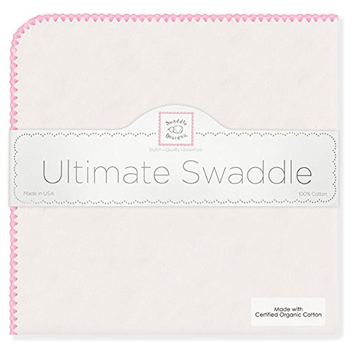 SwaddleDesigns Organic Ultimate Receiving Blanket, Natural with Color Trim, Bright Pink