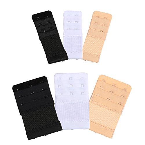 Bra Extender, Elastic Bra Strap Clips 3 Hooks 3 Rows2 Hooks 3 Rows Band Extension Strap Extender, White / Black / Khaki