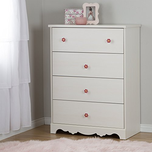 South Shore Lily Rose 4-Drawer Dresser, White Wash with Flower-Shaped Ceramic Handles ()