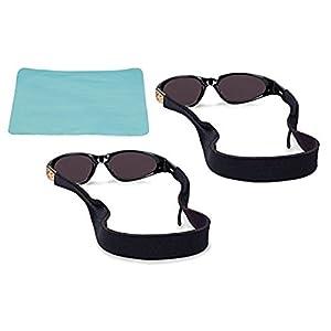 VIEEL Sunglasses Strap & Sunglasses Holder | Anti-Slip and Fast Drying Active Sport Glasses Strap | Eyewear Retainer for Men Women Boys Girls (2 Black+cloth)